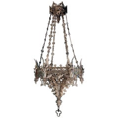 Antique French Neo-Gothic Silvered Bronze Hanging Fixture