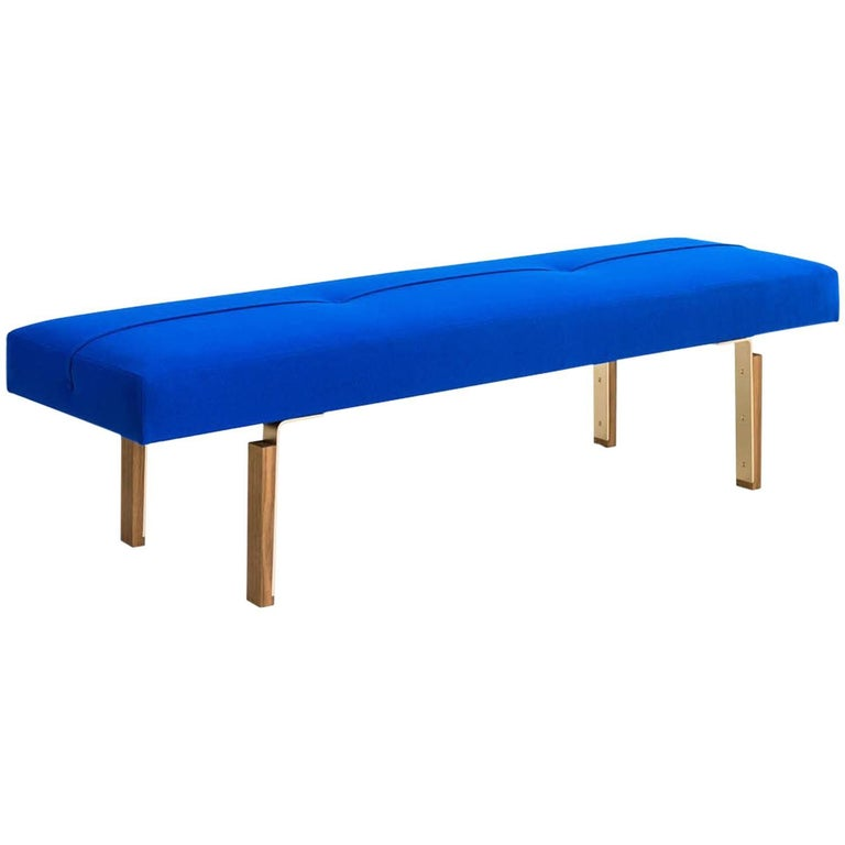 Parisi Bench in Blue with Solid Brass Legs Integrated into Wood Blocks, COM/COL For Sale