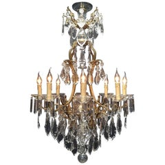 Large Spanish Bronze Chandelier with Nine Lights, Perfectly Restored