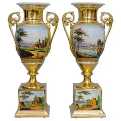 19th Century Squared Based Egg Shaped Vases with Italian Landscapes, Brussels