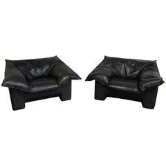Pair of Danish Modern Niels Eilersen Leather Lounge Chairs