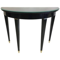 Modern Neoclassical Black Lacquer Demilune Console Attributed to Maison Jansen