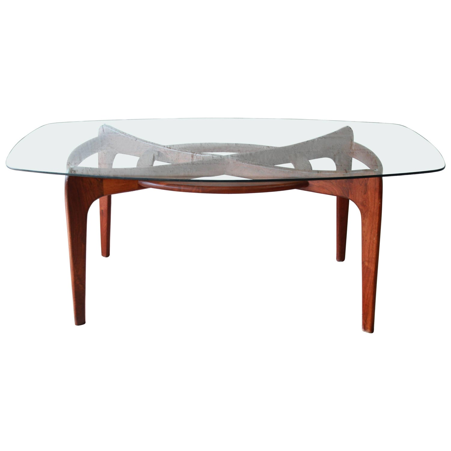 Adrian pearsall tables 99 for sale at 1stdibs adrian pearsall for craft associates sculpted walnut and glass dining table geotapseo Choice Image