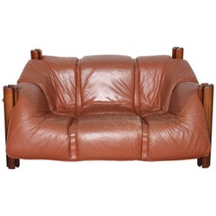 Brown Leather Two-Seat Lounge Chair by Percival Lafer