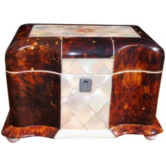 English Tortoise Shell and Mother-of-Pearl Tea Caddy with Ball Feet, Circa 1810