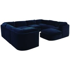 Mid-Century Modern/Contemporary Ten-Pc Thayer Coggin Sectional in Cotton Velvet
