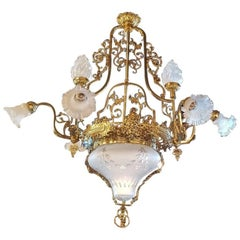 Large French Chandelier with Nine-Lights and a Coupe of Venetian Cut Glass