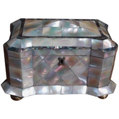 English Mother-of-Pearl and Abalone Tea Caddy with Fitted Interior, Circa 1810