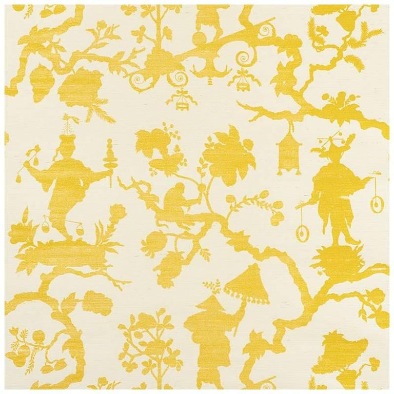 Schumacher Shantung Silhouette Sisal Chinoiserie Hand Printed Yellow Wallpaper For Sale