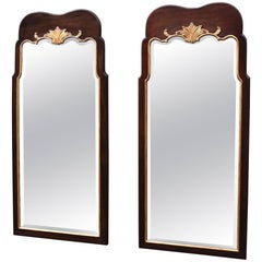 Pair of Walnut Chippendale Beveled Glass Mirrors with Gold Gilt Trim by Henredon