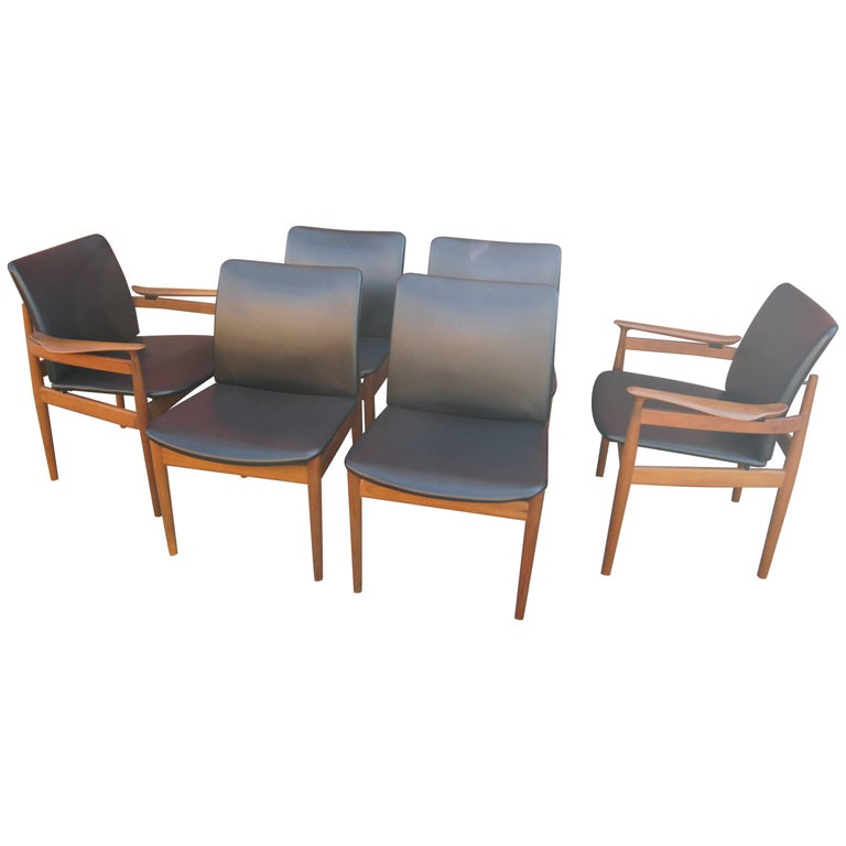 Set of Six Teak Dining Chairs, Models 191 & 192, by Finn Juhl