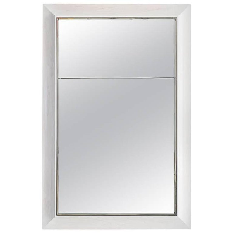 Zamora Mirror With Polished Stainless Steel And White Stained Maple Frame For