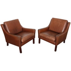 Pair of Mid-Century Modern Swedish Brown Leather Lounge Chairs
