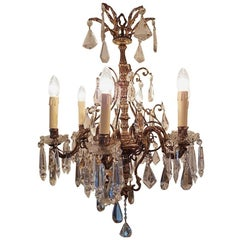 Small Bronze Chandelier with Six Lights, Crystal and Bobeche Cups