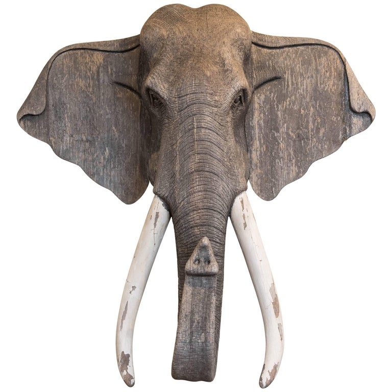 Vintage Carved Wood Elephant Wall Sculpture For Sale