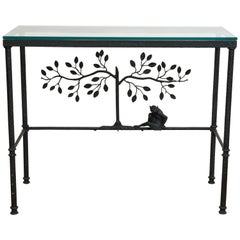 Giacometti Style Console Table With Glass Top