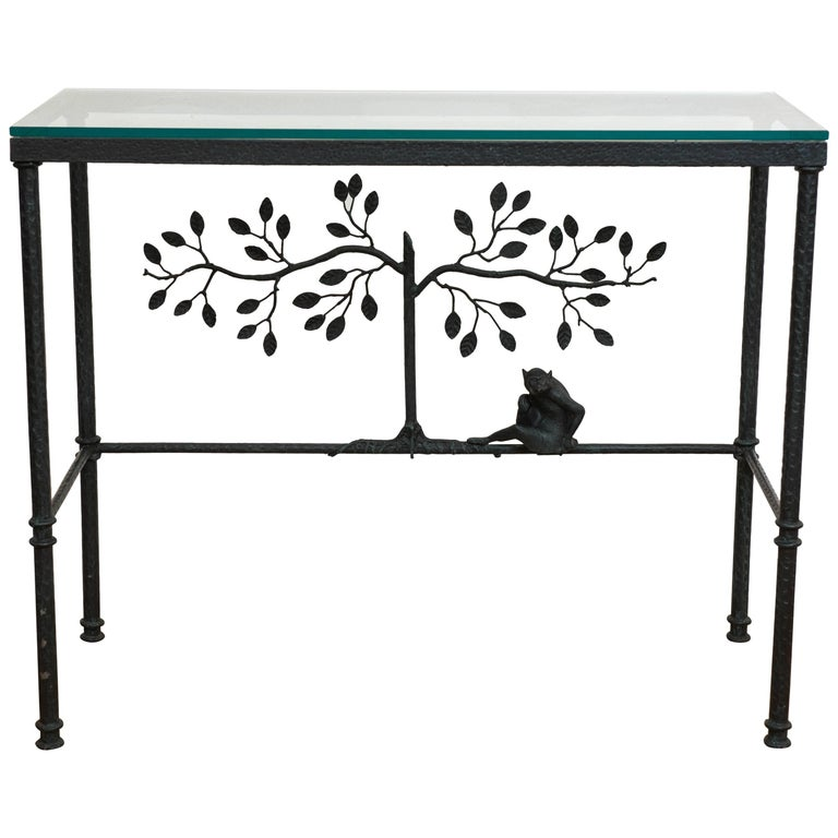 Giacometti Style Console Table With Glass Top For Sale