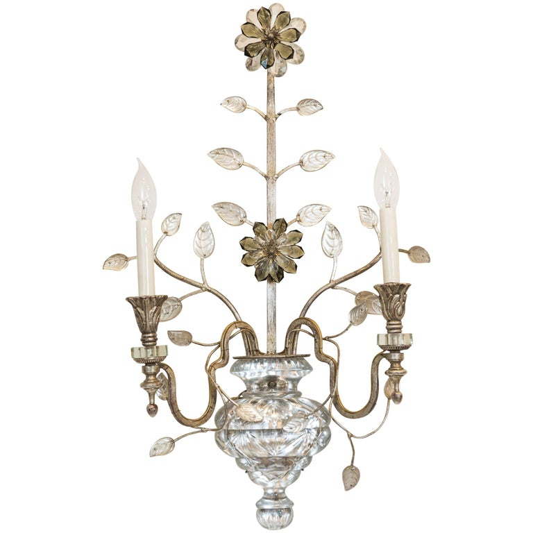 Single Silver Leaf Bagues Style Sconce from Italy For Sale