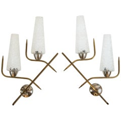 Pair of 1950s Brass Wall Sconces from France with Textured Glass Shades