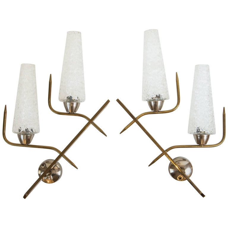 Pair of 1950s Brass Wall Sconces from France with Textured Glass Shades For Sale