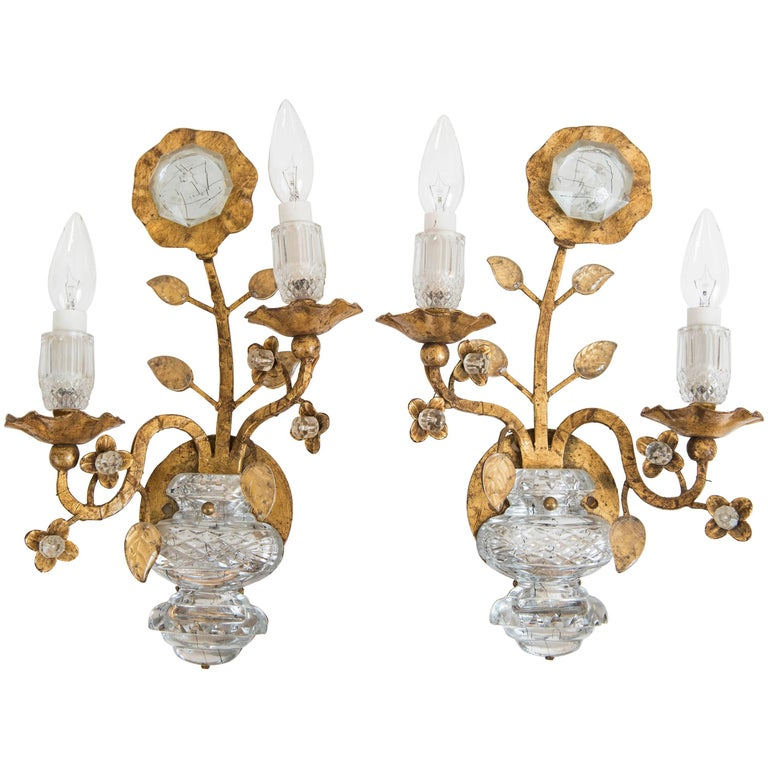 Pair of Vintage Maison Baguès Style Gold Leaf Sconces For Sale