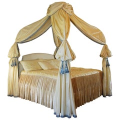 Custom Canopy Bed King-Size Frame Silk Drapery
