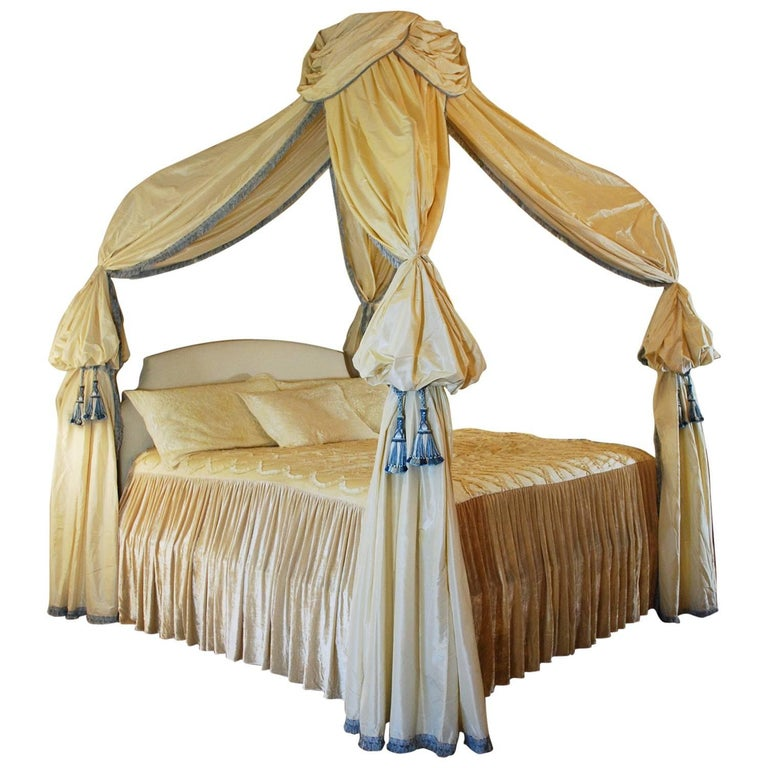 Custom Canopy Bed King Size Frame Silk Drapery For Sale At