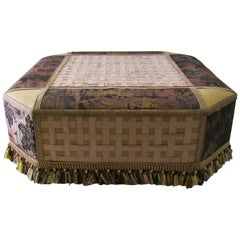 Sophisticated Peter Marino Ottoman with Antique Upholstery