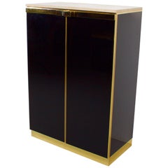 1970s Brass, Travertine and Black Lacquered Cabinet