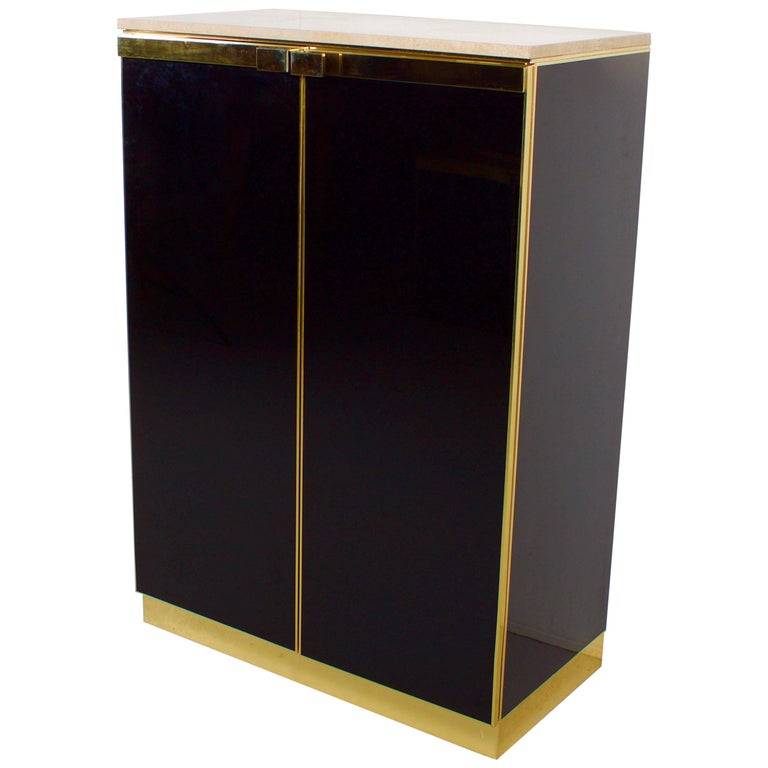 1970s Brass, Travertine and Black Lacquered Cabinet For Sale