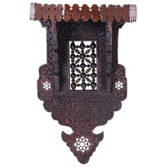 Exotic British Colonial Wall Bracket Inlaid with Mother-of-Pearl