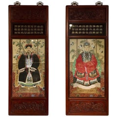 Pair of Chinese Republic Period Rosewood Framed Ancestor Portraits