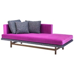 Aragon Chaise in Fuchsia Cotton Velvet on American Black Walnut Legs, COM or COL