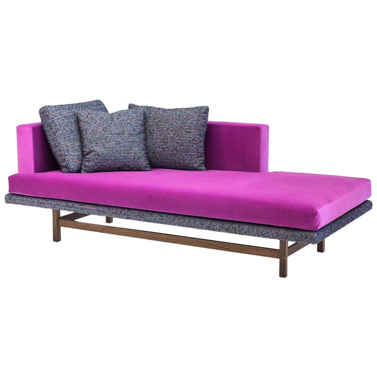 Aragon Chaise in Fuchsia Cotton Velvet on American Black Walnut Legs