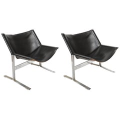Pair of Clement Meadmore Leather Sling Lounge Chairs