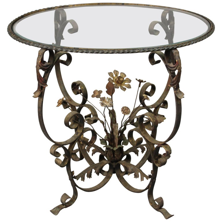 Antique 1920s wrought iron garden decorative floral glass for Wrought iron and glass side tables