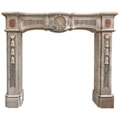 Antique Marble Mantel with Lotus Flower Decor, circa 1800s