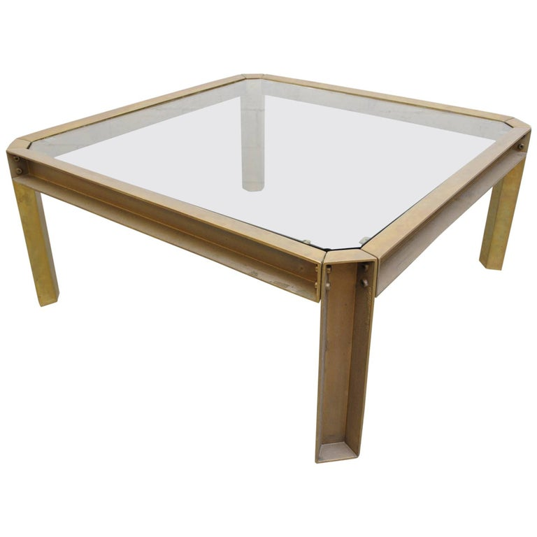 Peter Ghyzcy T09 Brass and Glass Industrial Style Coffee Table 1