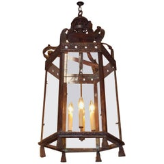 Italian Bronze Hexagon Decorative Tassel Hanging Hall Lantern, Circa 1820