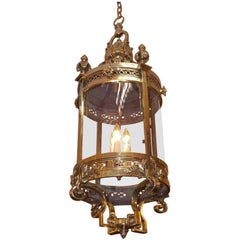 English Brass Decorative Acanthus Circular Glass Hanging Hall Lantern, C. 1840