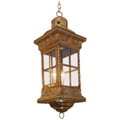 French Brass Shell and Foliage Hanging Glass Hall Lantern, Circa 1830
