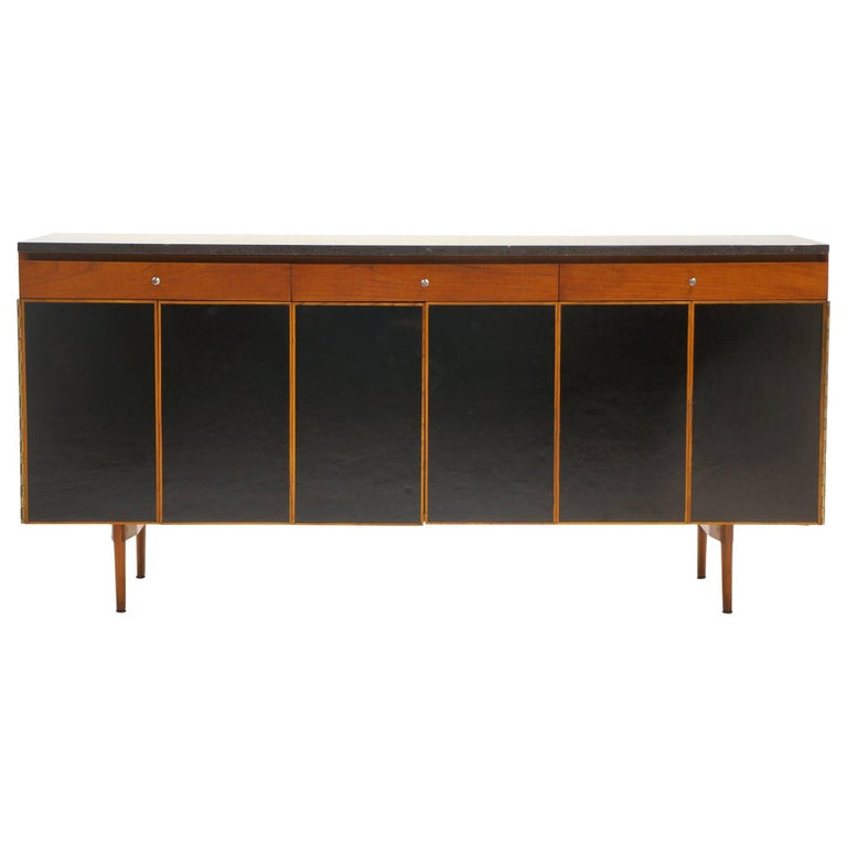 Paul McCobb Credenza or Sideboard, Walnut with Original Marble Top