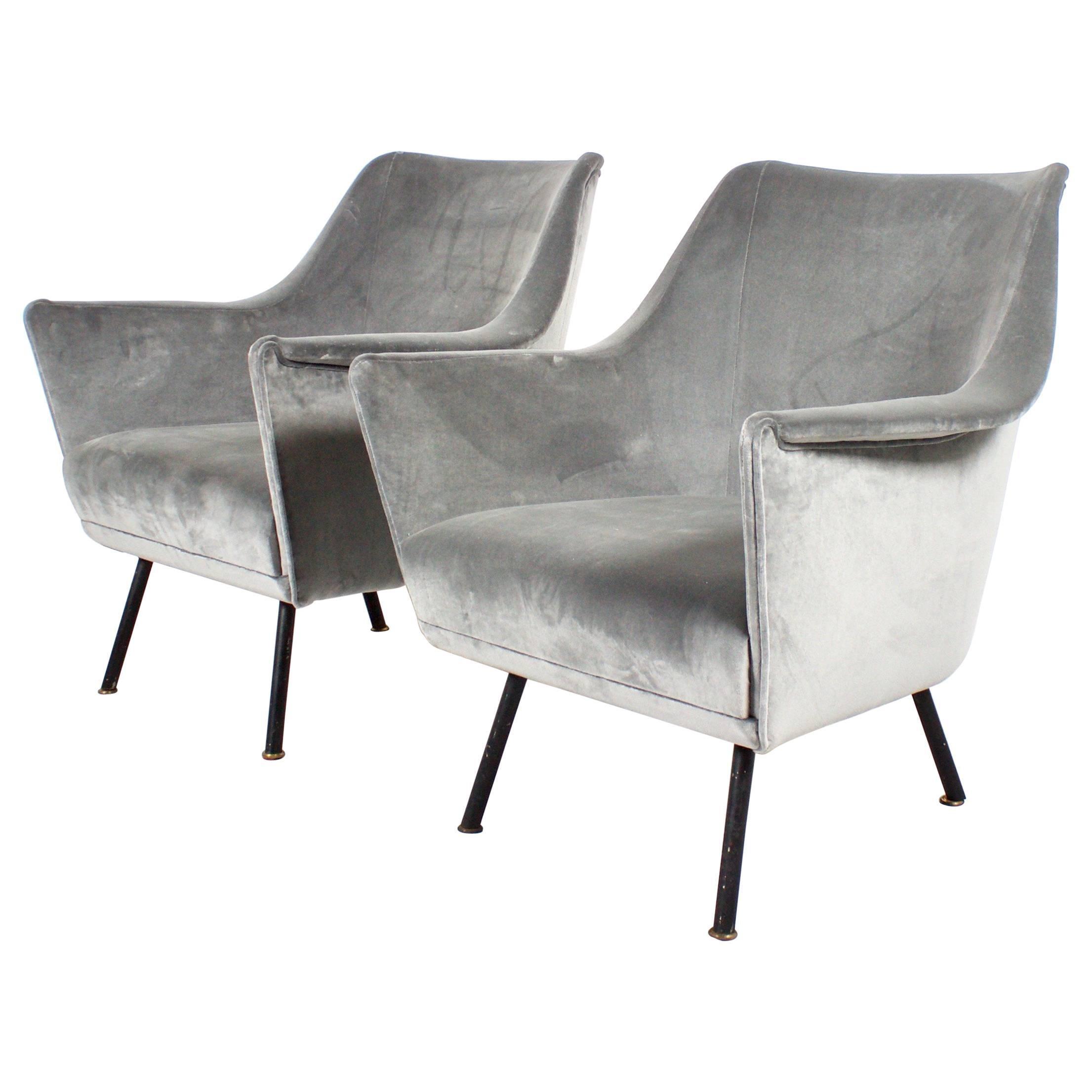 Pair of Elegant Italian Mid-Century Club Chairs, 1950s