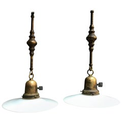 Milk Glass Disc Ornate Brass Stem Pendant Lights