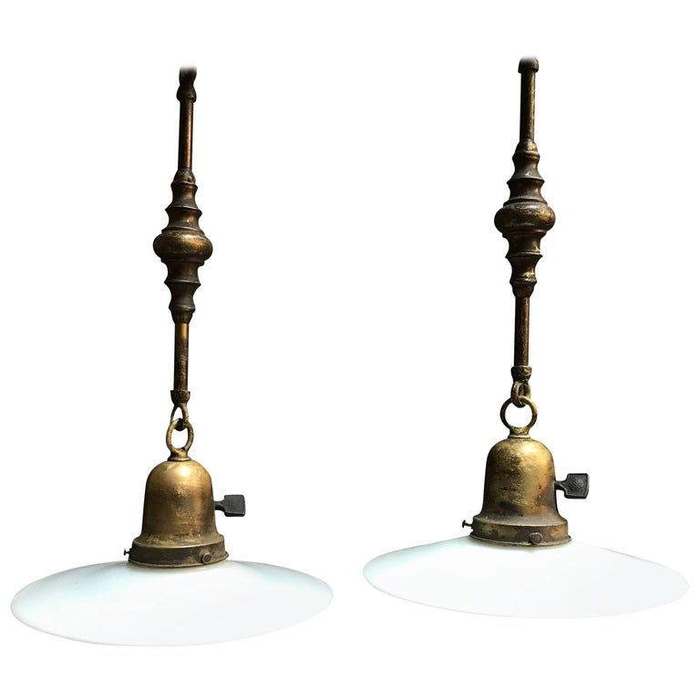 Milk Glass Disc Ornate Brass Stem Pendant Lights