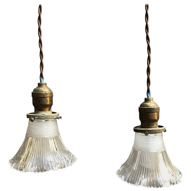 Petit Paris Glass Pendant Light For Sale: Pair Of Petite Industrial Holophane Glass Bell Pendants