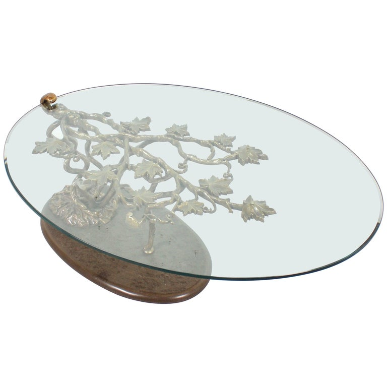 Sculptural Bronze And Glass Coffee Table At 1stdibs