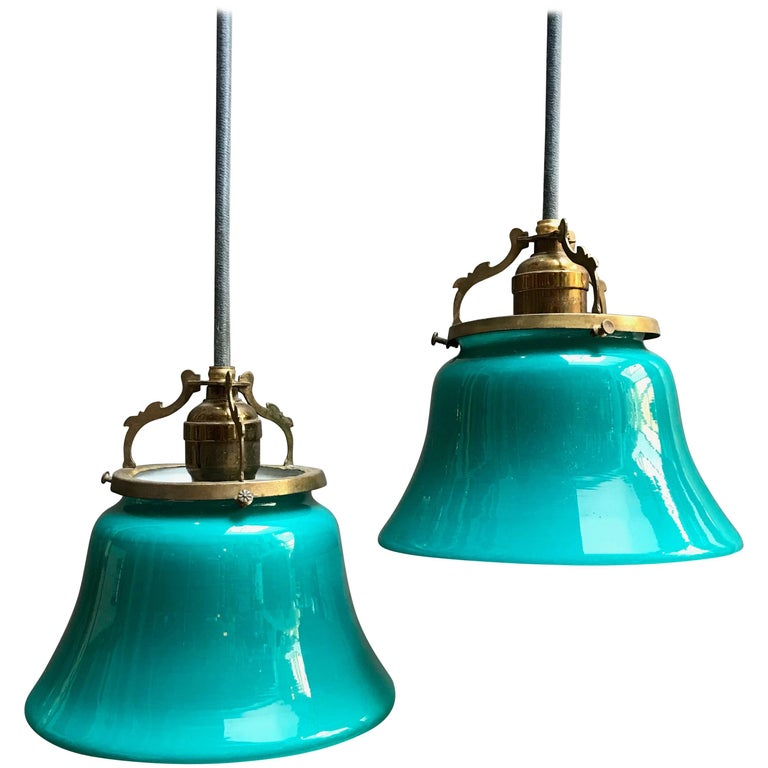 Pair of Early Emeralite Glass Shade Pendant Lights