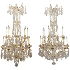 Fine and Palatial Pair of Late 19th Century Gilt Bronze and Crystal Chandelier