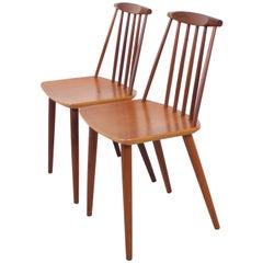 Pair of Teak Folke Palsson J77 Chairs for FDB Møbelfabrik